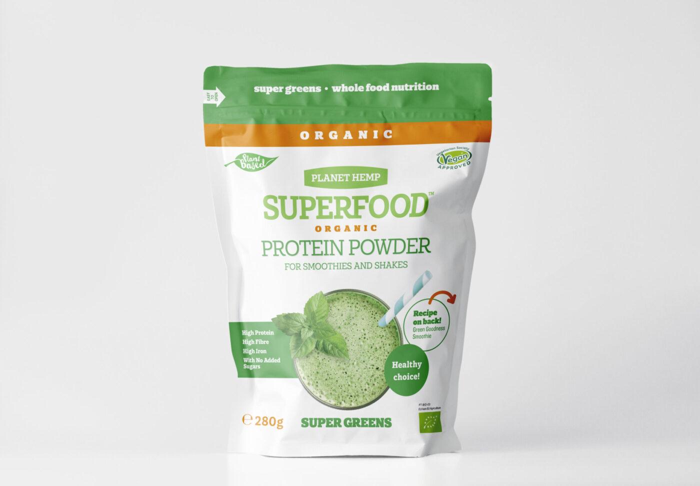 Kanapių baltymų mišinys SUPER GREENS